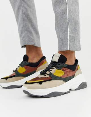 Selected chunky sole multi colour premium leather sneaker