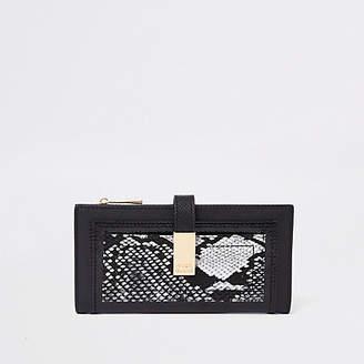 River Island Black snake print front pocket purse