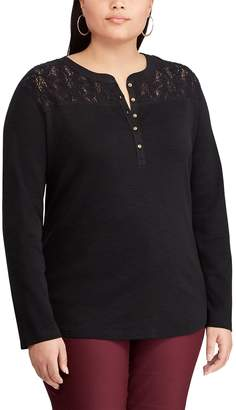 Chaps Plus Size Lace Henley Top