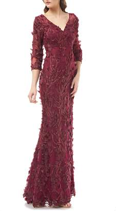 Carmen Marc Valvo 3D Flower Evening Dress