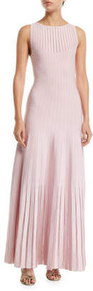 Zac Posen Knit-Striped Tulle-Trim Illusion Gown