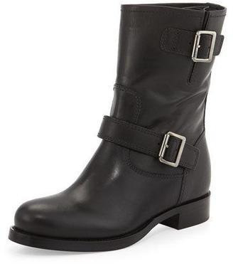 Prada Calf Leather Biker Boot, Black $990 thestylecure.com