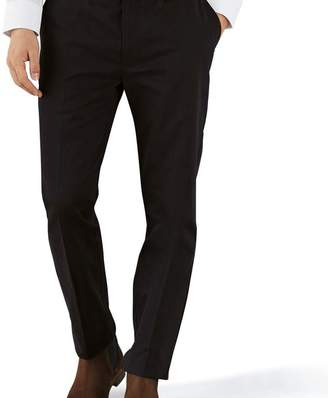 Charles Tyrwhitt Black extra slim fit flat front non-iron chinos