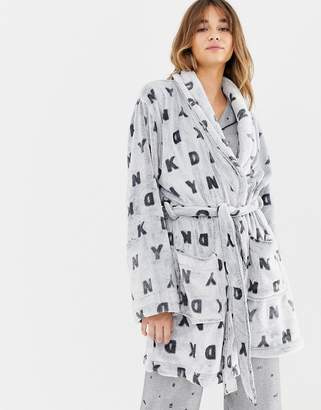 DKNY Logo Sleeve Frosted Gray Logo Robe