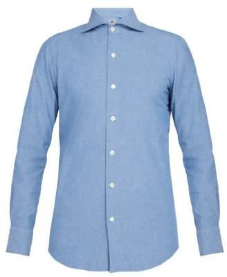 Finamore 1925 - Spread Collar Cotton Shirt - Mens - Blue