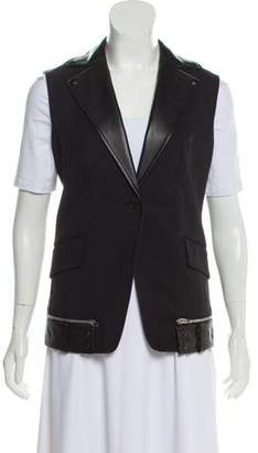 Alexander Wang Leather-Trimmed Longline Vest w/ Tags