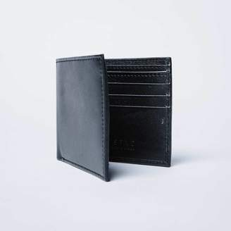 DSTLD Mens Calfskin Leather Bifold Wallet in Black