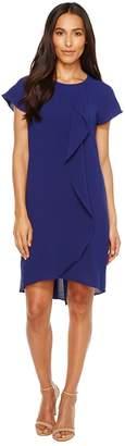 Adrianna Papell Gauzy Crepe Corkscrew Drape Shift Dress with Short Sleeves Women's Dress