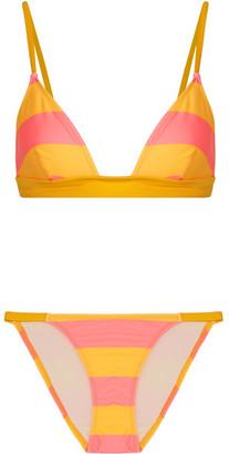 Solid and Striped - The Morgan Striped Triangle Bikini - Marigold $176 thestylecure.com