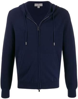 Canali hooded zipped cardigan