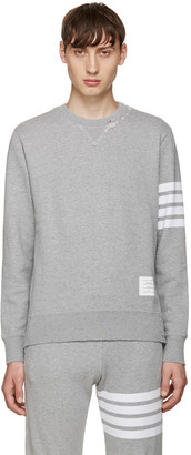 Thom Browne Grey 4 Bars Pullover $690 thestylecure.com
