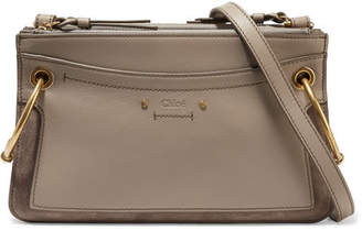 Chloé Roy Mini Leather And Suede Shoulder Bag - Gray