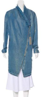 Soia & Kyo Denim Collarless Coat w/ Tags