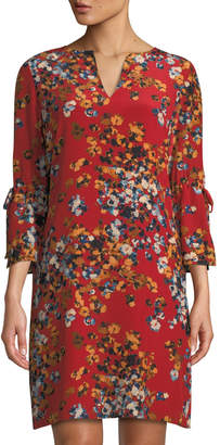Lafayette 148 New York Deandra Floral V-Neck Sleek Tech Cloth Dress, Red
