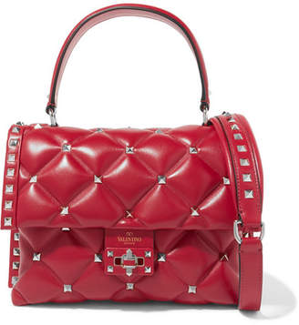 Valentino Garavani Candystud Quilted Leather Shoulder Bag Red