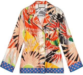 Gucci Tropical bird silk pajama shirt