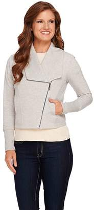 Halston H By H by French Terry Knit Motorcycle Jacket with Zip Front
