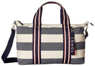 Tommy Hilfiger Classic Tote Convertible Weekender Woven Rugby Tote Handbags