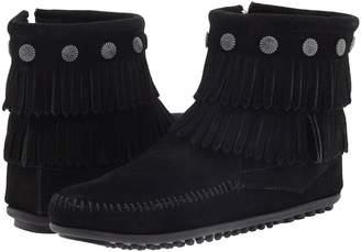 Minnetonka Double Fringe Side Zip Boot Women's Zip Boots