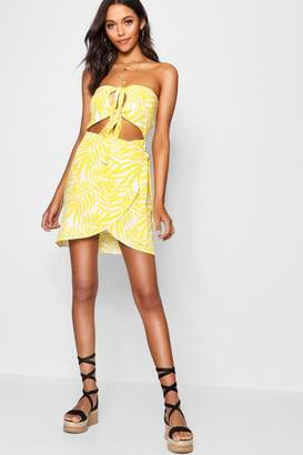 boohoo Tall Knot Front Bandeau Shift Dress