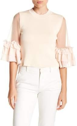 Gracia Ruffle Sheer Sleeve Knit Blouse
