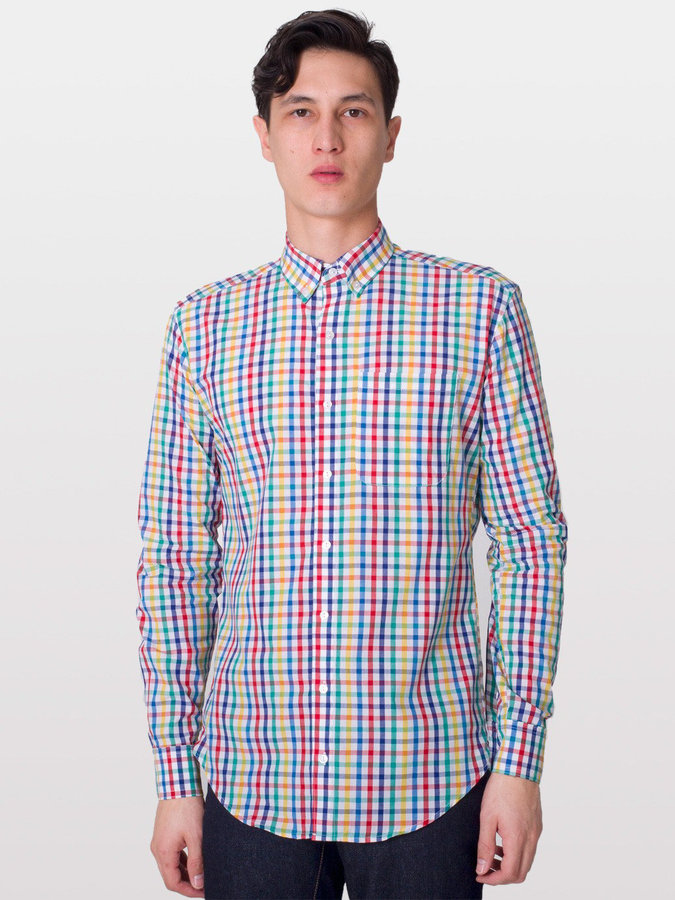 American Apparel Gingham Long Sleeve Button-Down with Pocket
