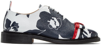 Thom Browne Navy & White Floral Outline Wholecut Bow Oxfords $1,290 thestylecure.com