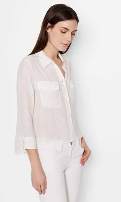 Equipment CROPPED 3/4 SLEEVE SIGNATURE SILK SHIRT