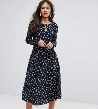Glamorous Tall Lace Up Midi Skater Dress With Fluted Sleeves In All Over Floral Print