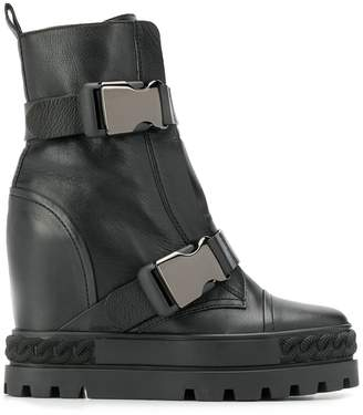Casadei buckled wedge boots