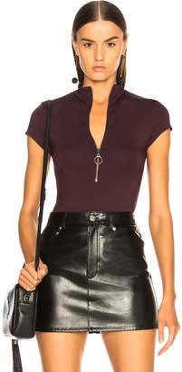 Enza Costa Mock Neck Front Zip Bodysuit
