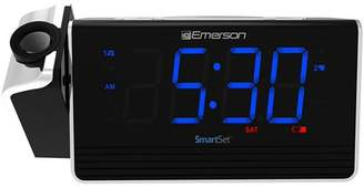 "Emerson SmartSet Projection Alarm Clock Radio with USB Charging for Iphone/Ipad/Ipod/Android and Tablets, Digital FM Radio, 1.4"" Blue LED Display, 4 level Dimmer, ER100103"