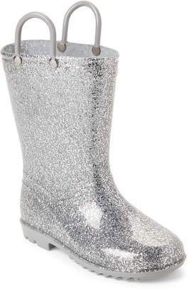 Lilly Of New York (Toddler Girls) Silver Glitter Rain Boots