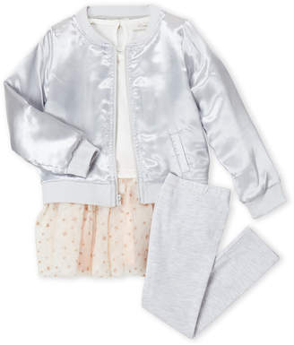 Miniclasix (Toddler Girls) 3-Piece Star Tutu Dress & Satin Bomber Set