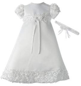 Snow Queen Francis Olivia Christening Dress with Soutache Trim and Floral Headband