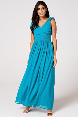N. Rock Roll Bride Rock Roll Bride Aries Blue Jewel Plunge Maxi Dress