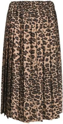 P.A.R.O.S.H. leopard print pleated skirt