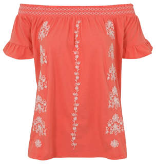 George Coral Embroidered Bardot Top