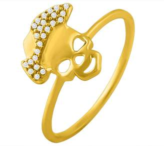 Smjewels 0.06 Cts Round Cut Sim Diamond Skull Shape Wedding Ring In 14KT Gold PL