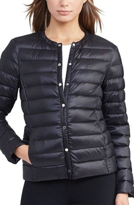 Women's Lauren Ralph Lauren Packable Quilted Collarless Down Jacket $140 thestylecure.com