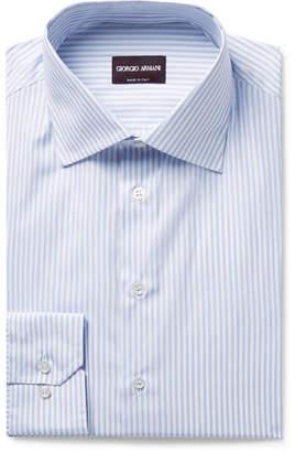 Giorgio Armani Slim-Fit Blue Pinstriped Cotton-Poplin Shirt - Men - Blue