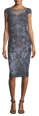Theia Cap Sleeve Beaded Dress $750 thestylecure.com