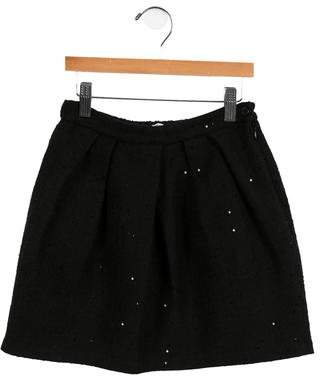 Il Gufo Girls' Embellished Wool-Blend Skirt