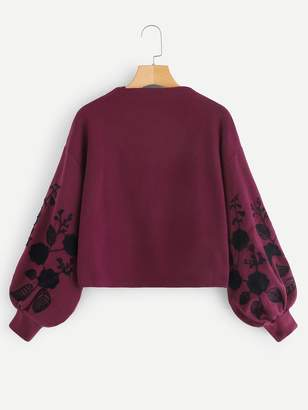 Shein Floral Embroidered Bishop Sleeve Jumper
