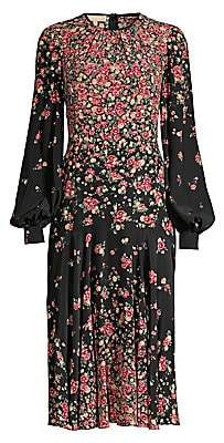 Michael Kors Women's Crushed Drop-Waist Floral Silk Dress