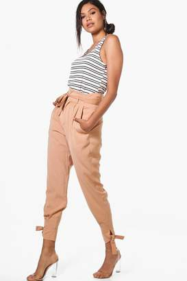 boohoo Tailored Ankle Tie Woven Slim Fit Trousers