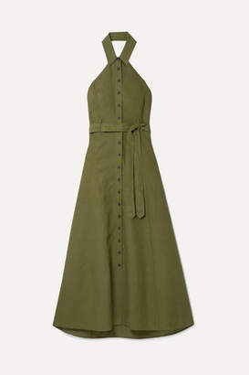 Mara Hoffman Net Sustain Rosemary Tencel And Linen-blend Halterneck Maxi Dress - Army green