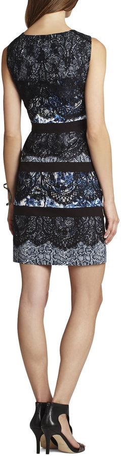 BCBGMAXAZRIA Makenna Sleeveless Lace and Print Dress