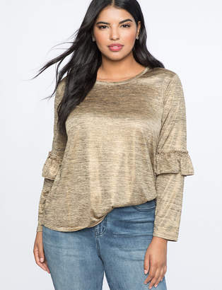 Foil Jersey Long Sleeve Tee with Ruffle Detail