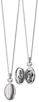 "Monica Rich Kosann 3/4"" Pinstriped Silver Oval Locket Necklace"